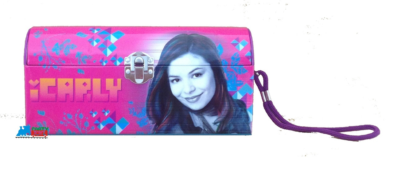 iCarly Dome Carry All Tin Lunch Box Lunchbox with String - Pink