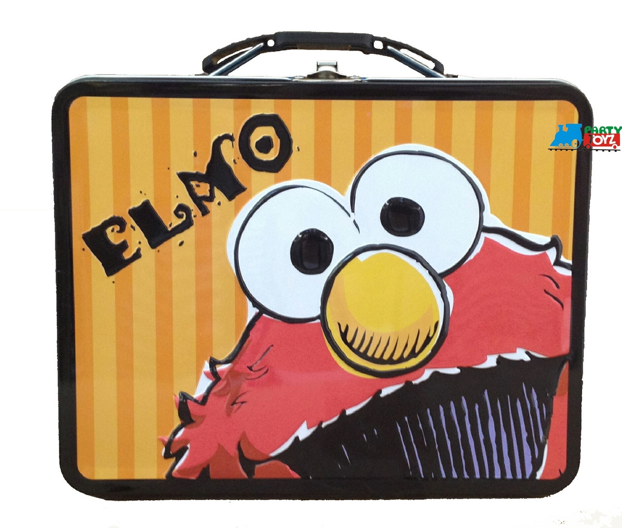 Elmo Big Bird Cookie Monster Oscar Grover Square Tin  Small Lunch Box  -  Face
