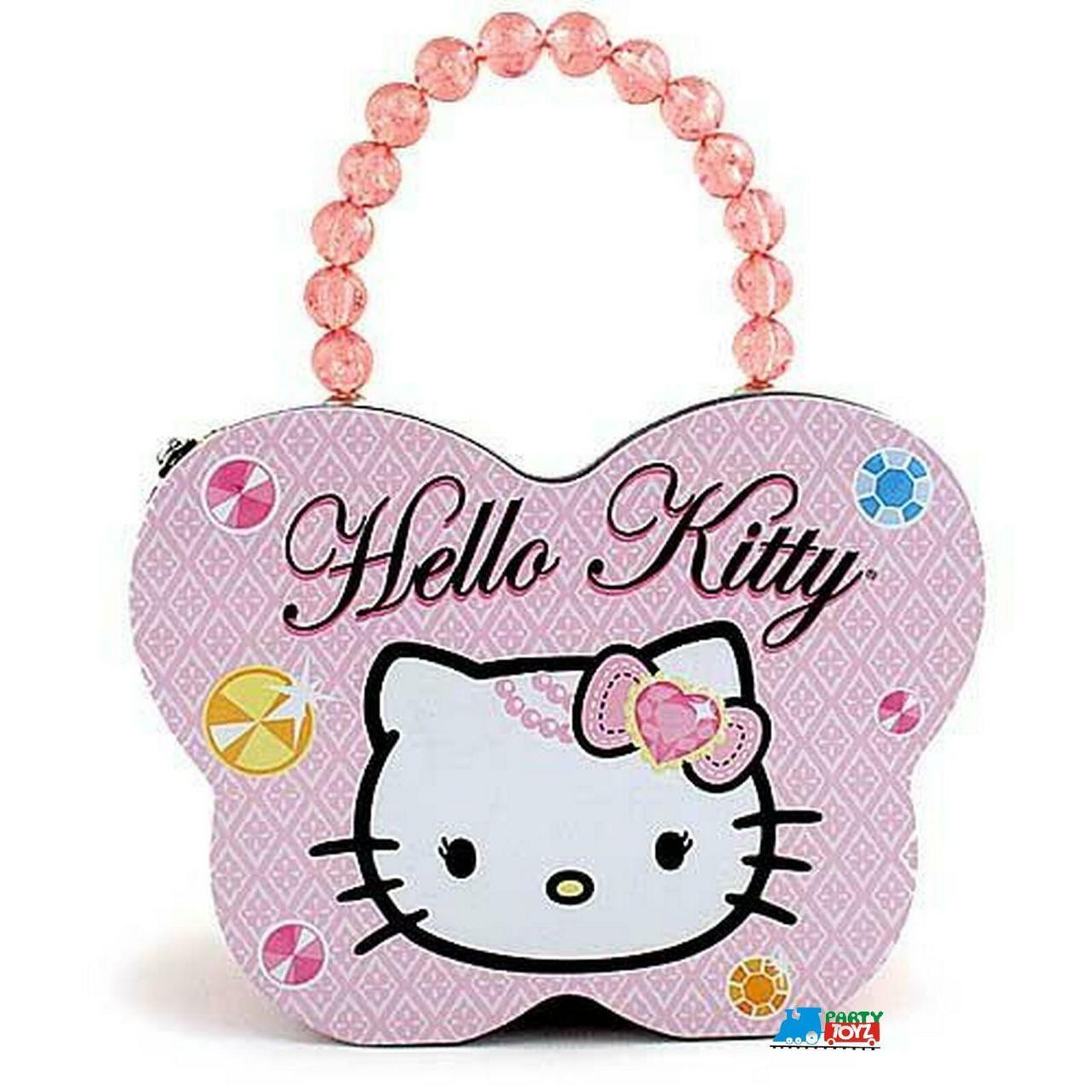 Hello Kitty Tin Stationery Clutch Beaded Butterfly Purse - Pink