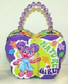 Abby Cadabby Butterfly Shape Carry All Tin Purse Bag with Beaded Handle - Purple