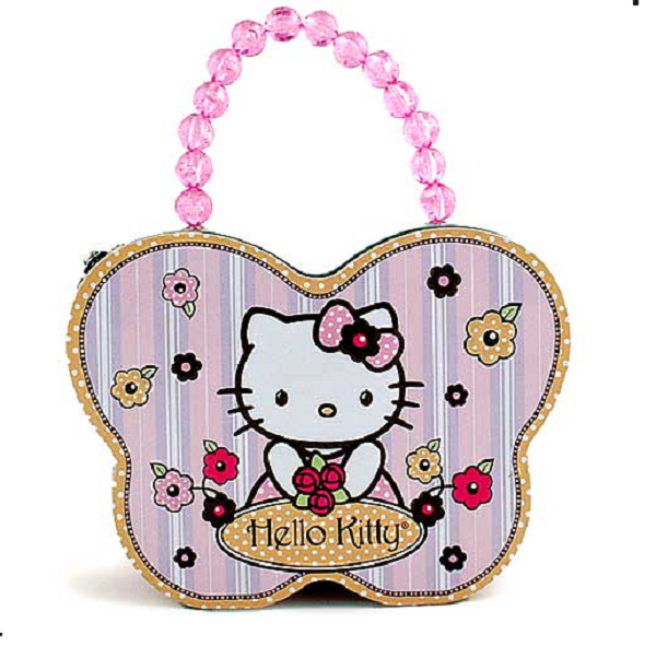 Hello Kitty Butterfly Shape Carry All Tin Purse - Pink