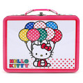 Hello Kitty Square Tin Stationery or Small Lunch Box - Balloons