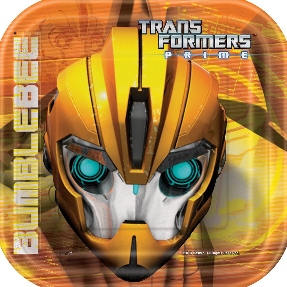 Transformers Small Square 7 Inch Party Cake Dessert Plates - Prime Bumblebee