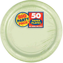 Amscan Leaf Green Big Party Pack Dinner Plates (50 Count), 1, green