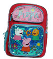 "Peppa Pig Large 16"" Cloth Backpack Book Bag - Red"