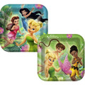 Tinkerbell Large Square Lunch Dinner Plates - With Fairies