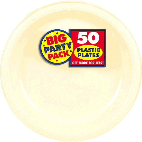 Big Party Pack Small 7 Inch Dessert Plastic Plates - Vanilla Creme