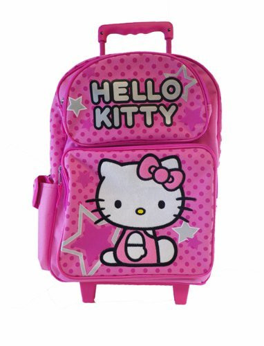 2cd168714f90 Hello Kitty Large 16 Inch Cloth Rolling Backpack With Wheels - All Star. Loading  zoom
