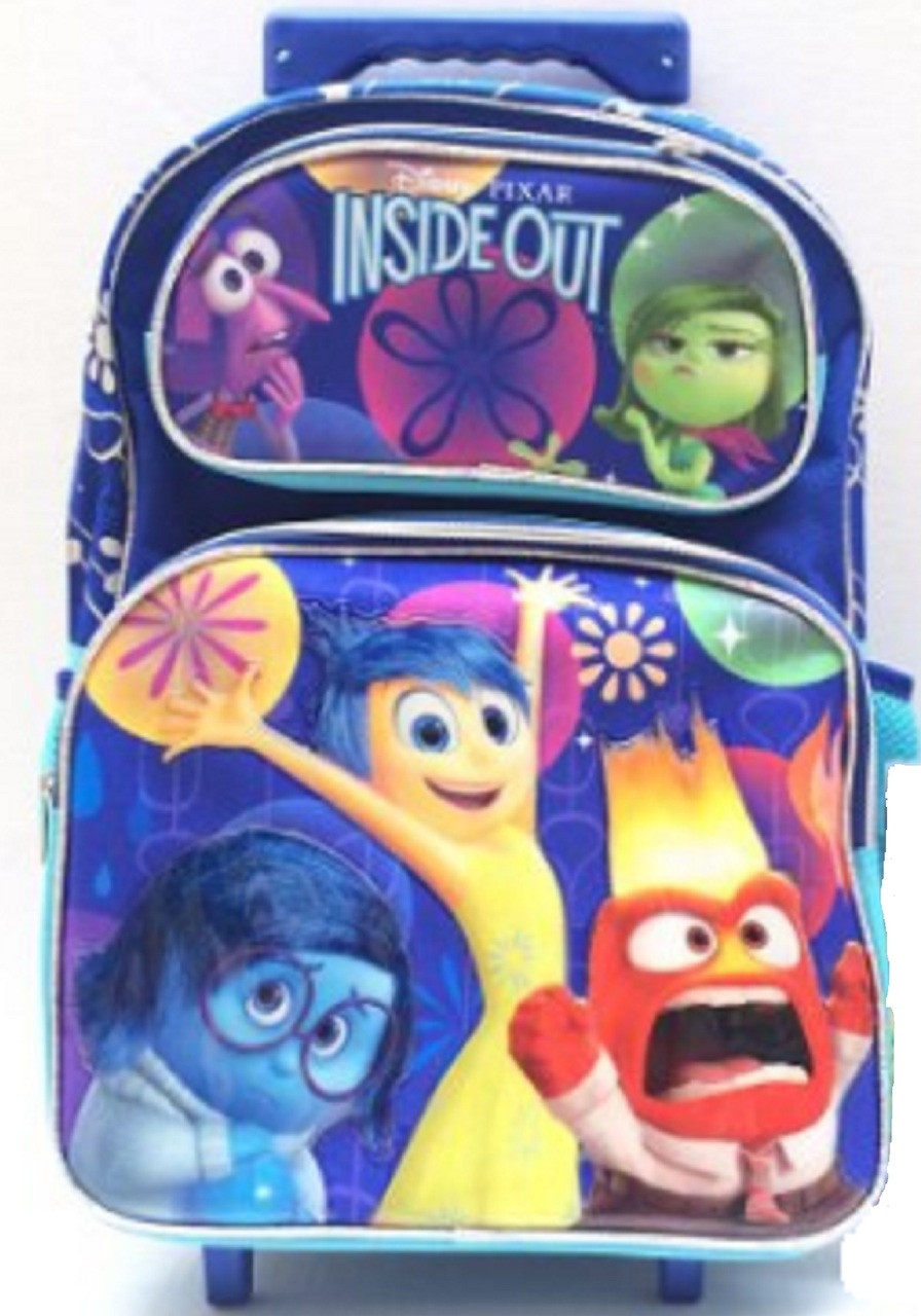 """Inside Out Large 16"""" Cloth Rolling Backpack - Rainbow"""