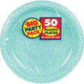 Amscan Big Party Pack 50 Count Plastic Dessert Plates, 7-Inch, Robbins Egg Blue