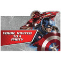 Captain America Pack of 8 Postcard Invitations  - Civil War