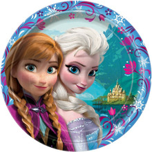 Frozen Ice Princess Anna Elsa Large 9 Inch Round Lunch Dinner Plates