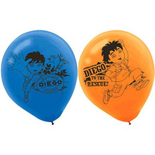 Diego Pack of 6 Latex Rubber Balloons (Helium Quality)