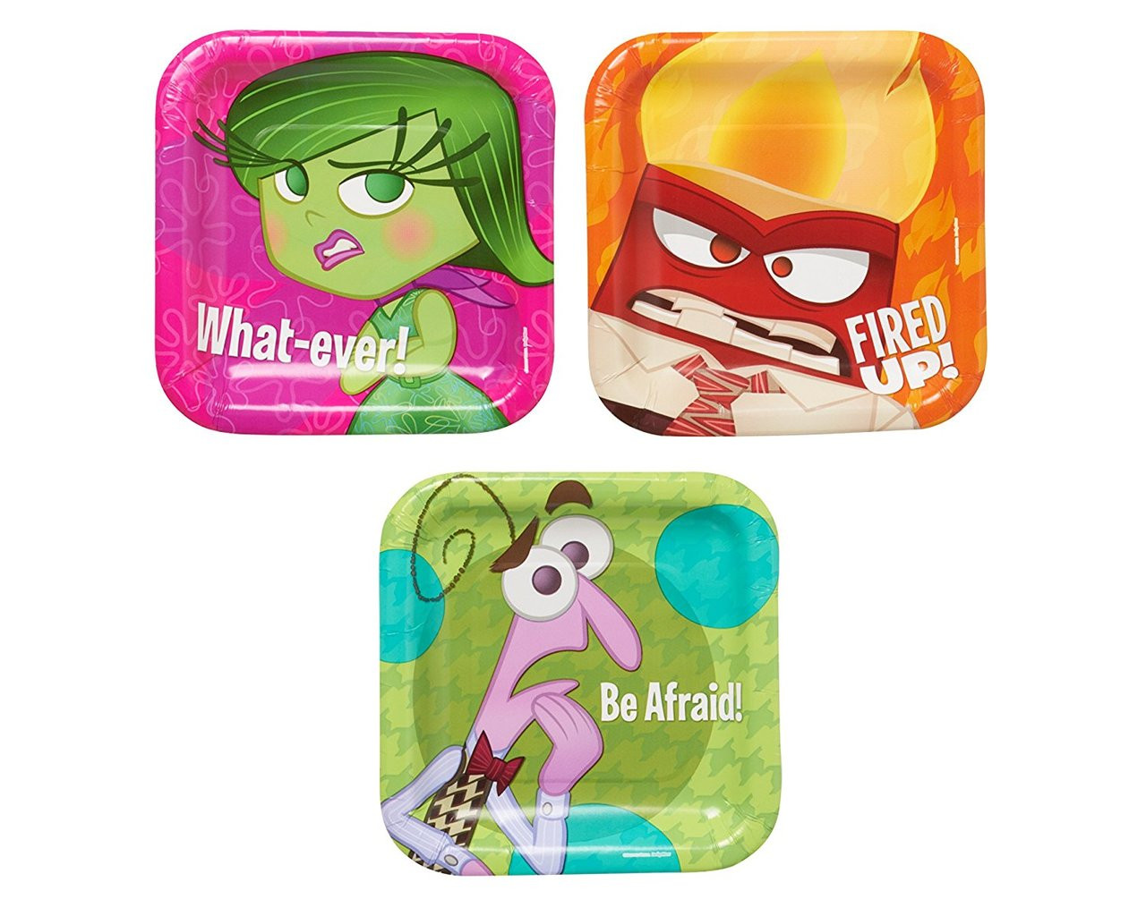 Inside Out 7 Inch Small Dessert Party Cake Plates- Be Afraid, What ever, Fired