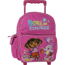 "Dora the Explorer Large 16"" Cloth Backpack With Wheels - Pink"