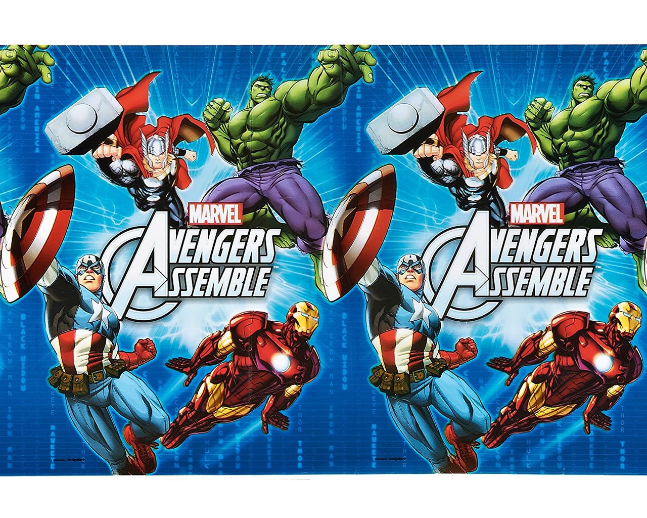 Avengers Assemble Plastic Table Cover Tablecover - Blue/White