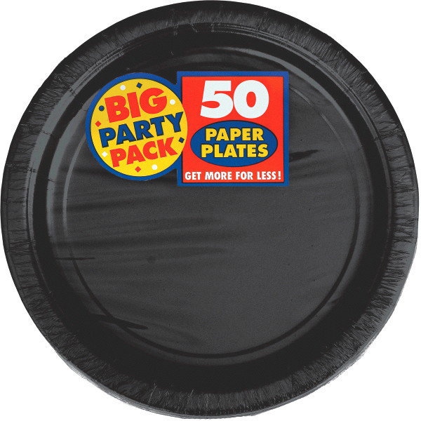 Big Party Pack Large 9 Inch Paper Plates - Black