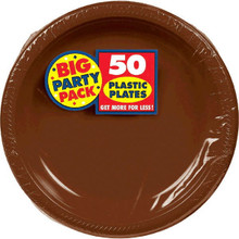 Big Party Pack Small 7 Inch Dessert Plastic Plates - Chocolate Brown