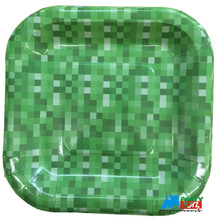 Minecraft Inspired Block Pattern Small 7 Inch Square Party Cake Plates - Green