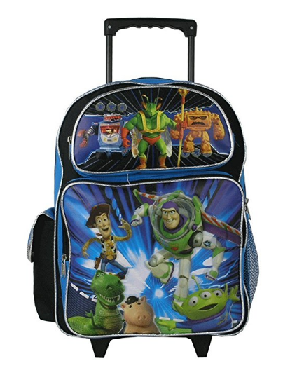 """Toy Story Buzz Woody Jessie Large 16"""" Cloth Backpack With Wheels"""