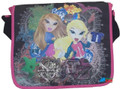Bratz Large Cloth Messenger Backpack Laptop Bag Sling - Black/Pink 2 girls