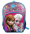 "Frozen Large 16"" Cloth Backpack Book Bag Pack with Lights - Purple"