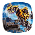 Transformers Small Square 7 Inch Pocket Compartment Party Cake Plates - Blue