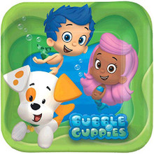 Bubble Guppies 7 Inch Small Square Party Cake Dessert Plates