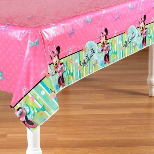 Minnie Mouse Plastic Tablecover Table Cover Tablecloth - Pink Bow-Tique