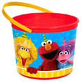 Sesame Street  Plastic Favor Bucket Container ( 1pc ) - Red