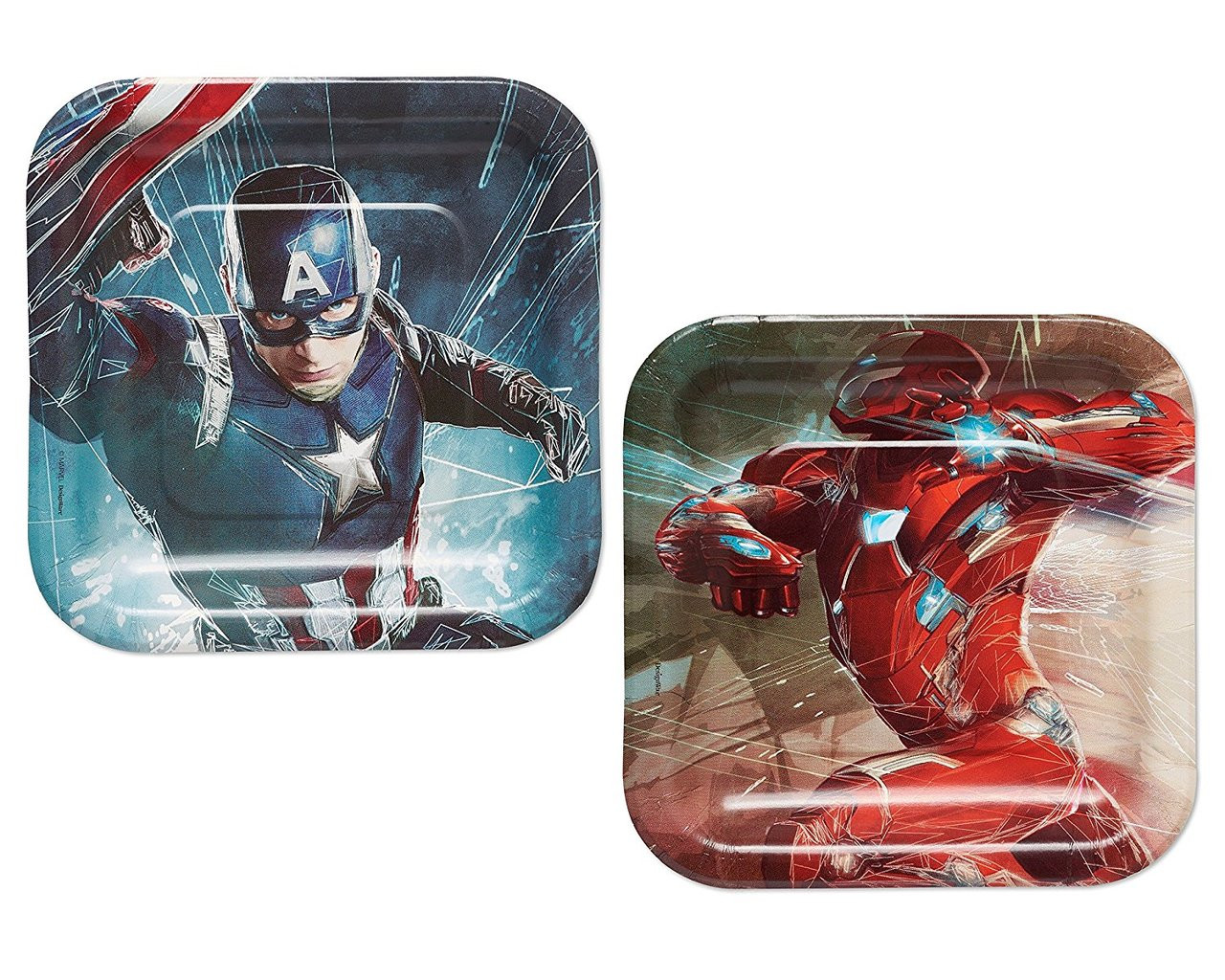 Captain America Small 7 inch Square Party Cake Dessert Plates - Civil War
