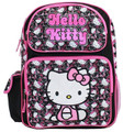 "Hello Kitty Large 16"" Cloth Backpack Book Bag Pack - Blk Wht Faces"