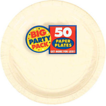 Amscan Big Party Pack 50 Count Paper Dessert Plates, 7-Inch, Vanilla Cr?me