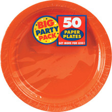 Big Party Pack Large 9 Inch Paper Plate - Orange Peel