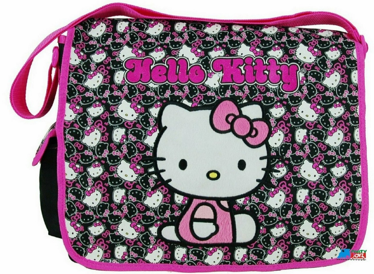 a1dab0437cc5 Hello Kitty Large Cloth Messenger Backpack Laptop Bag Sling - Blk Faces