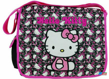 Hello Kitty Large Cloth Messenger Backpack Laptop Bag Sling - Blk Faces