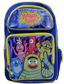 "Yo Gabba Gabba Large 16"" Cloth Backpack Book Bag Pack - Blue"