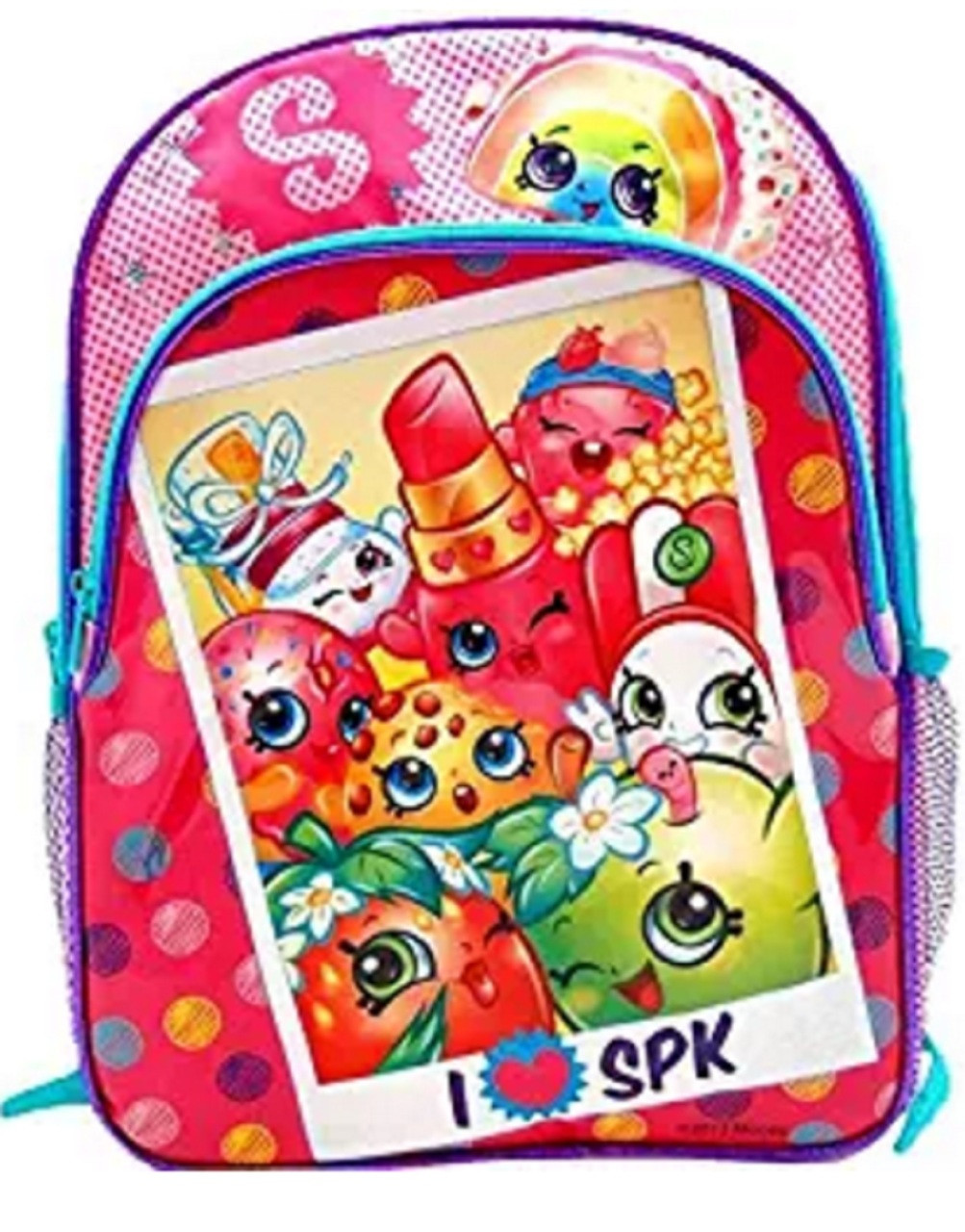 """Shopkins 16"""" Large Cloth and Plastic Book Bag Pack Pink  - Polaroid Picture"""