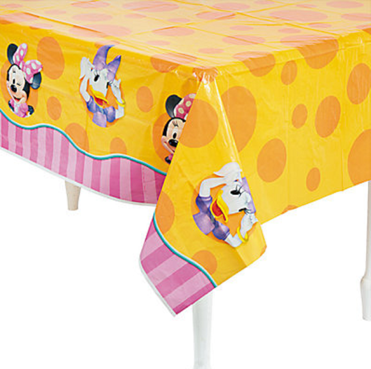 Minnie Mouse Plastic Tablecover Table Cover Tablecloth - Orange