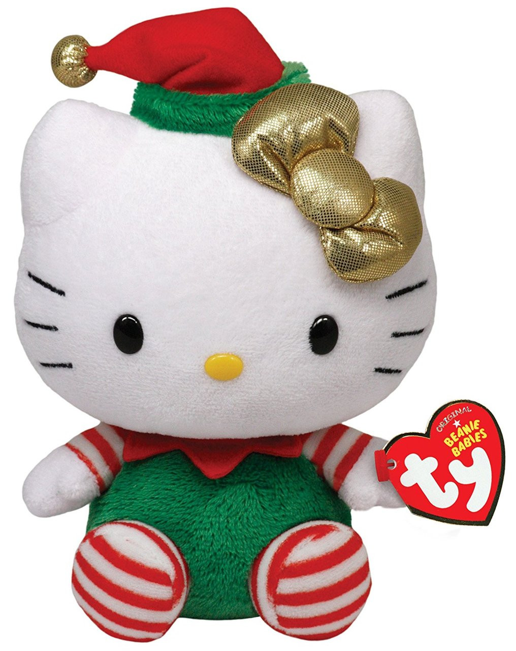 "Hello Kitty Small TY Beanie Baby 6.5"" Plush Toy - Elf Kitty"