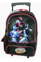 """Power Rangers Large 16"""" Cloth Backpack With Wheels Black  - Overdrive"""
