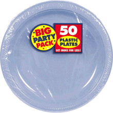 Amscan Big Party Pack 50 Count Plastic Dessert Plates, 7-Inch, Pastel Blue