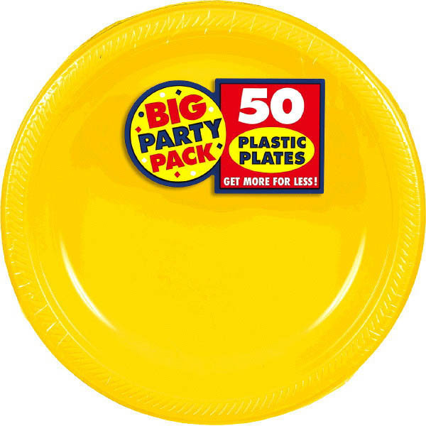 Big Party Pack Large 10 Inch Lunch Plastic Plates - Sunshine Yellow