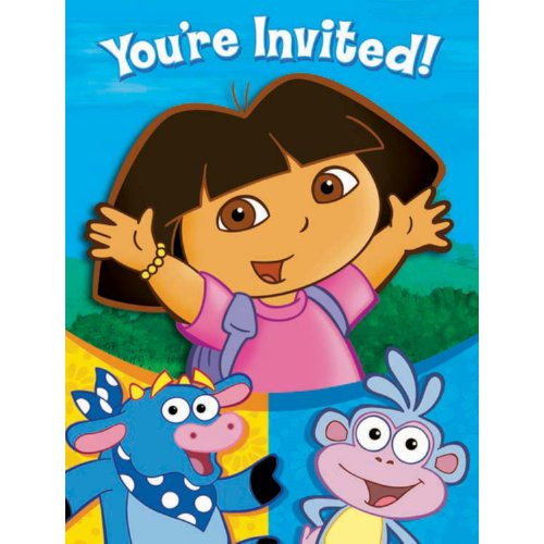Dora the Explorer Pack of 8 Invitations  with Thank You Cards