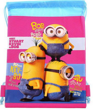 Drawstring Bag - Minions Pink Cloth String Bag