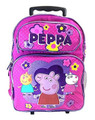 "Peppa Pig Large Rolling 16"" Cloth Backpack Book Bag  - Pink"