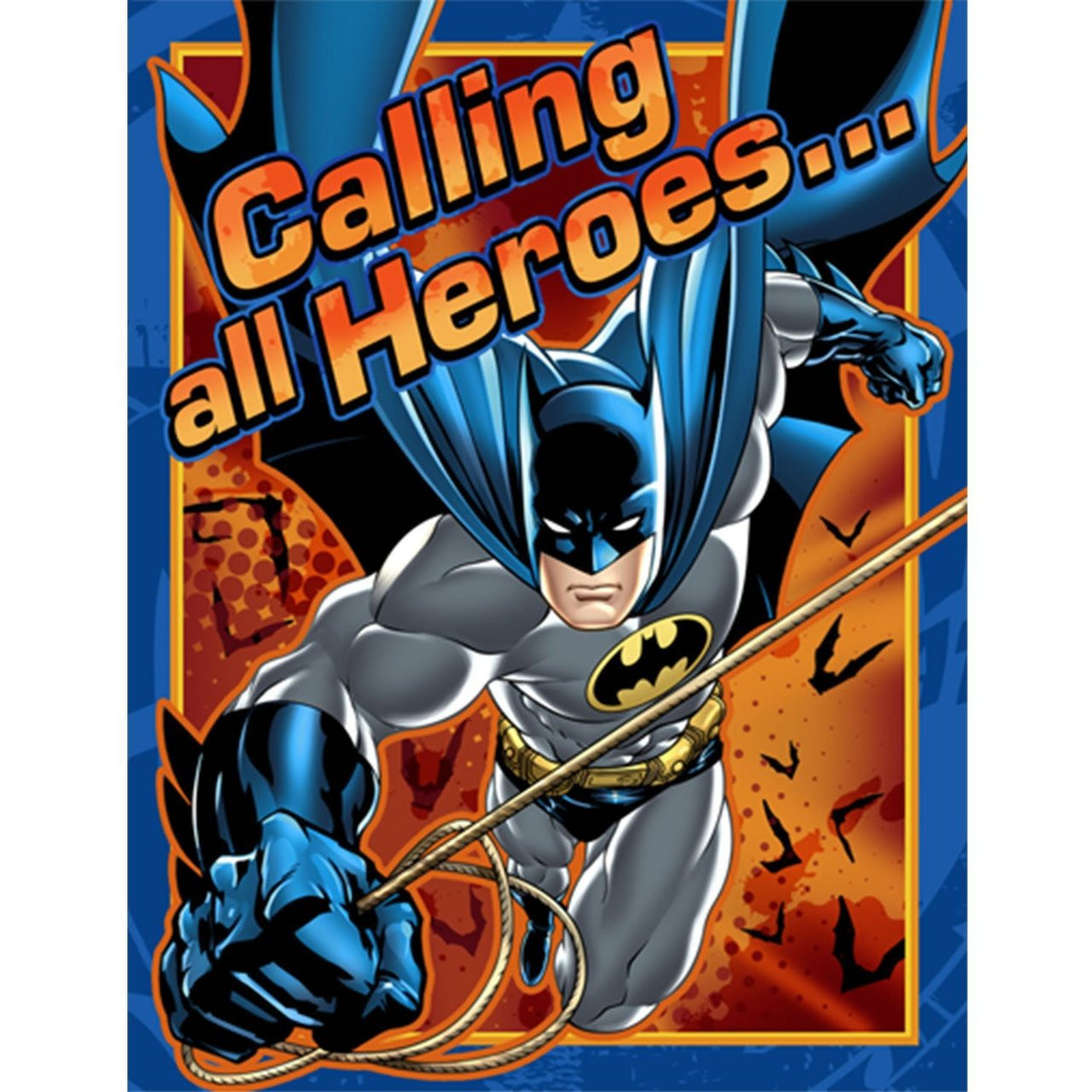 Batman Pack of 8 Invitations  - Orange Blue