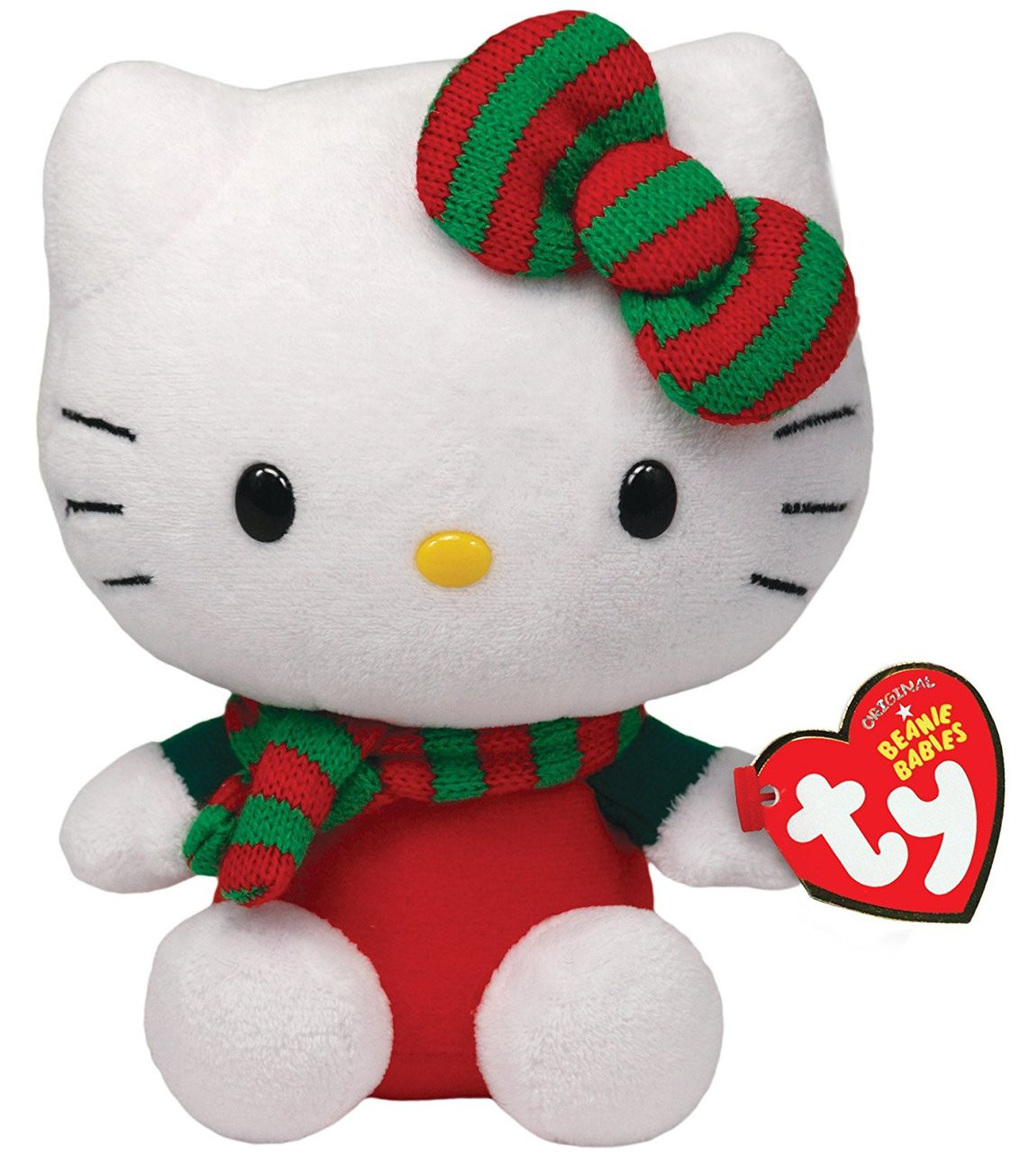 "Hello Kitty Small TY Beanie Baby 6.5"" Plush Toy - Green Red Stripped Scarf"