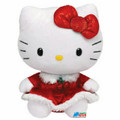 "Hello Kitty Small TY Beanie Baby 6.5"" Plush Toy - Christmas Red Dress"