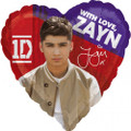 "One Direction 1D 18"" Heart Metallic Balloon - Zayn"